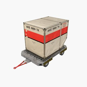 3D airport luggage cart container model