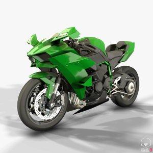 3D kawasaki ninja h2r motorcycle model