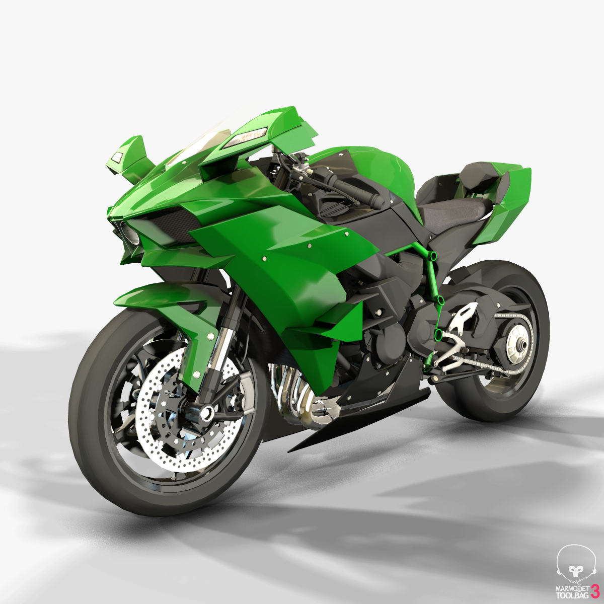 Kawasaki Ninja H2r >> Kawasaki Ninja H2r Low Poly