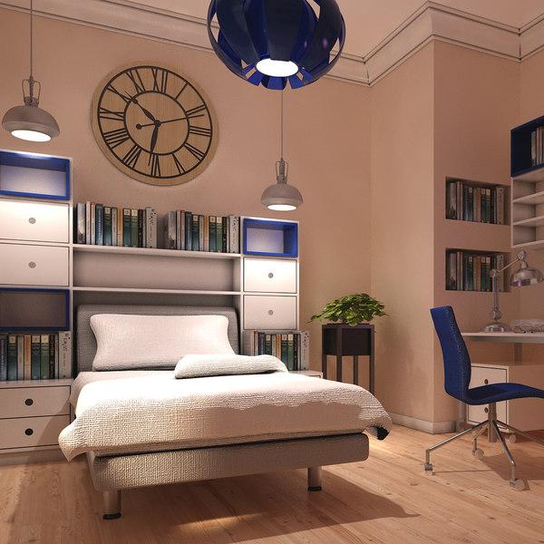 teen room interior 3D model