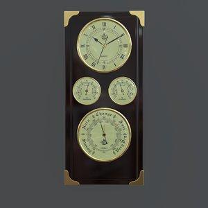 3D barometer clock station model