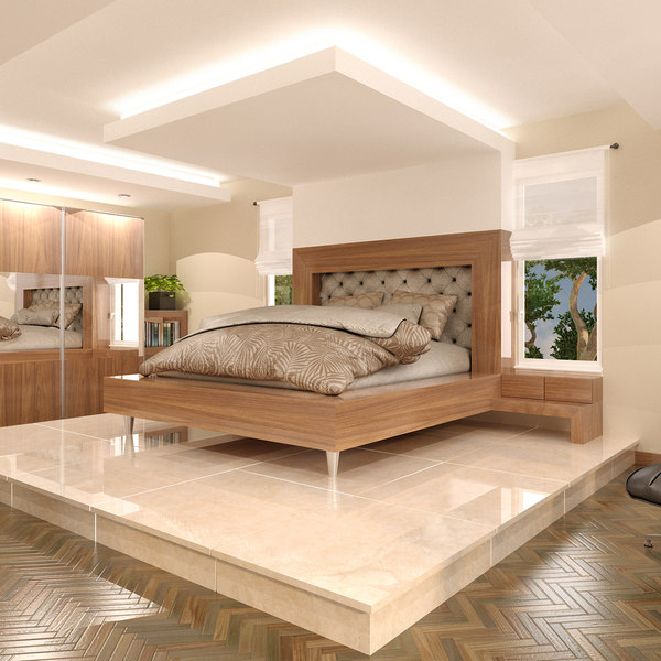 3D bedroom interior bed model