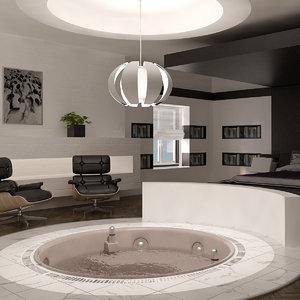 3D bedroom interior bed