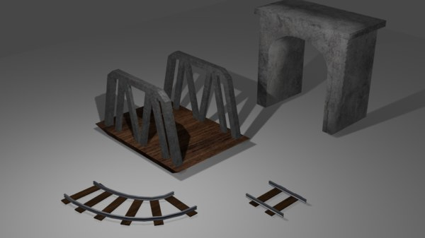 simple bridge tunnel train rail 3D model