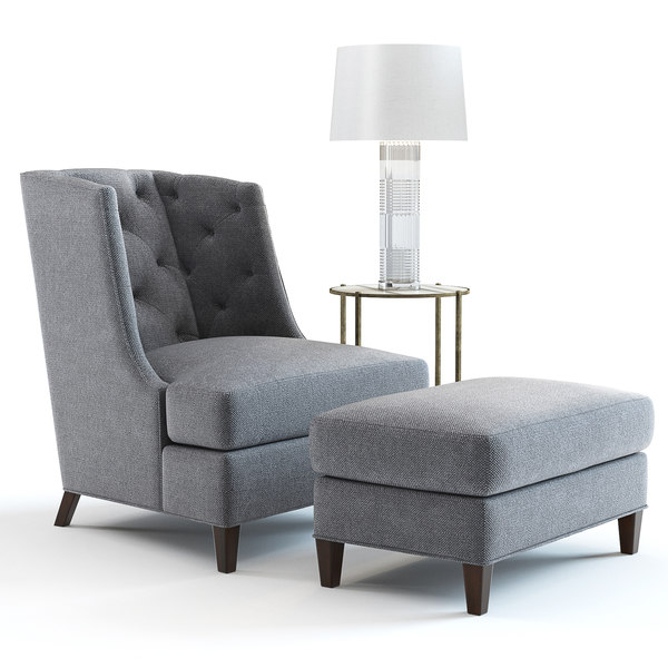 3D bakers moderne wing chair ottoman model