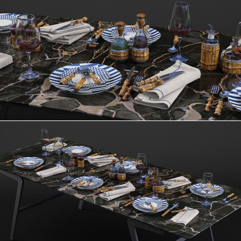 3D lorenzi milano bamboo dining