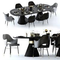 3D miramar table rigby chair