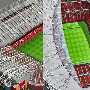 old trafford stadium wembley 3d model