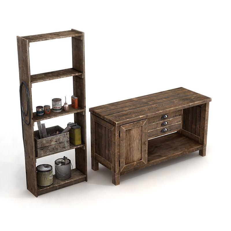 3d workshop furniture bench