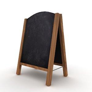 3D wooden sandwich board model
