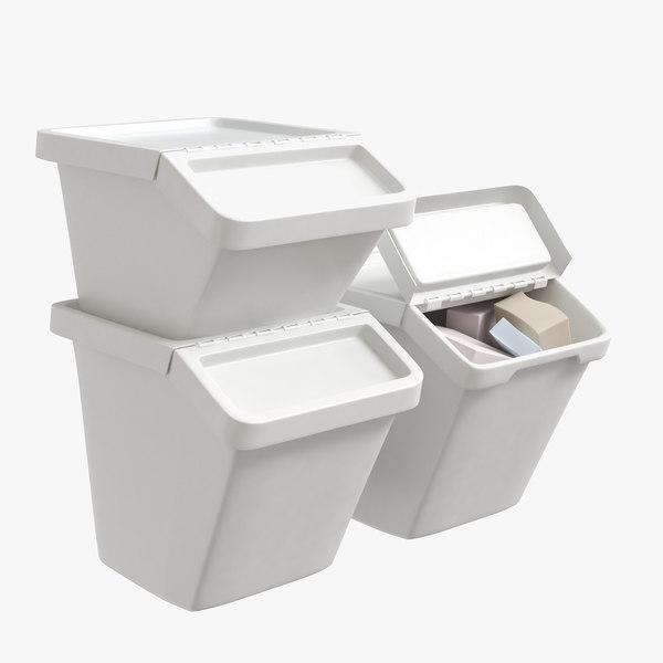 3D sortera recycling bin model