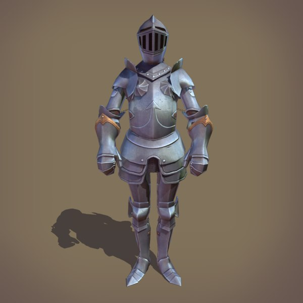 3D ornamental plate armour medieval armor model