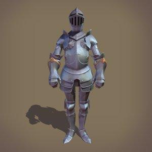 3D ornamental plate armour medieval armor model