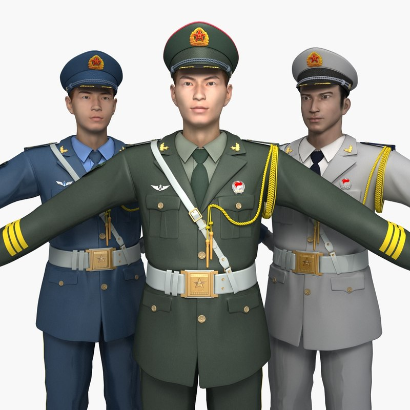 3D model china soldier guard honor