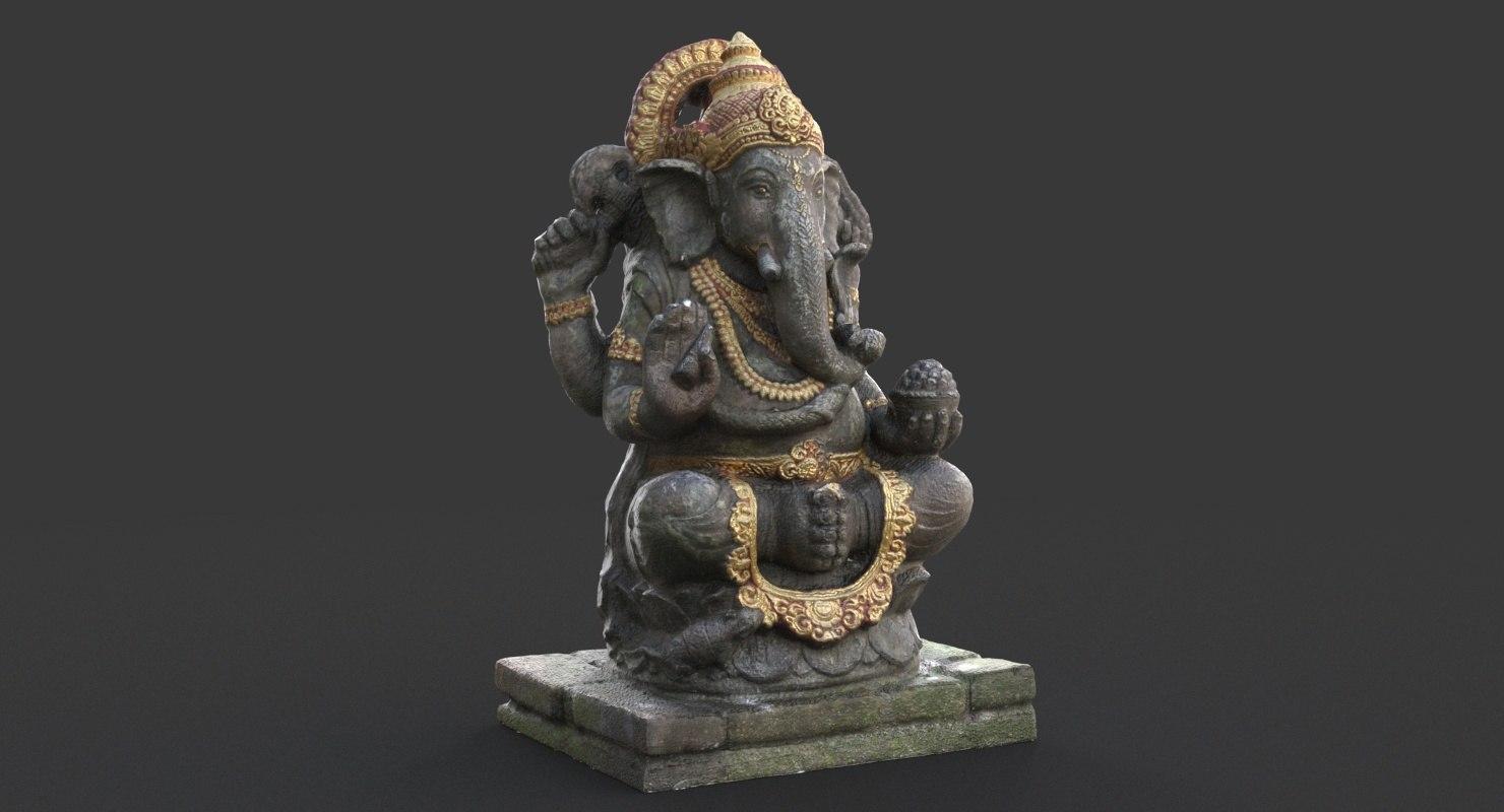 3D model balinese ganesh statue