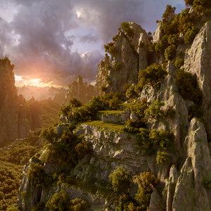 3D mountain scene