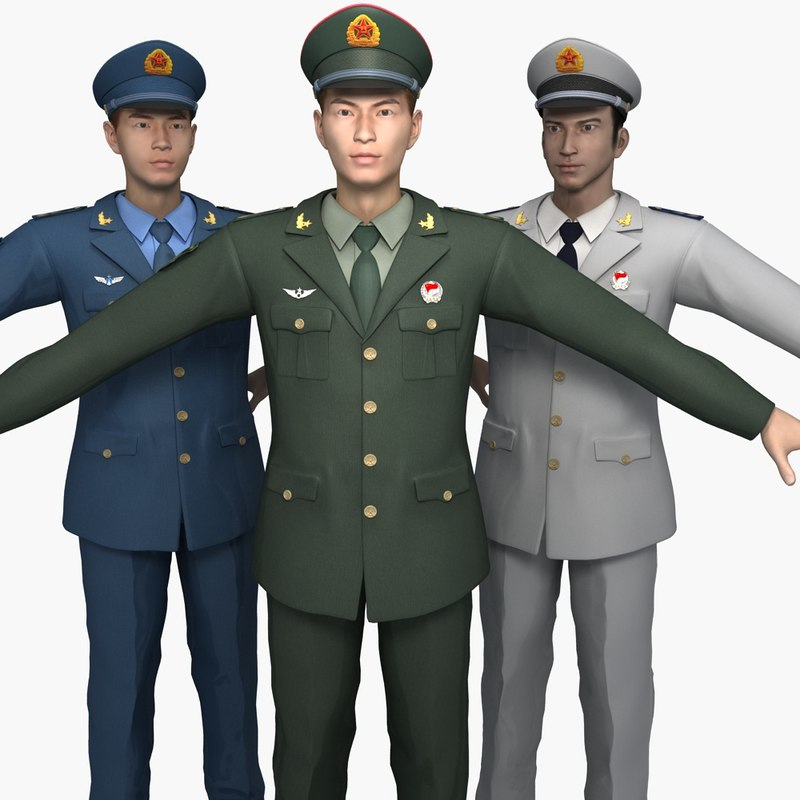 3D china soldiers spring autumn model