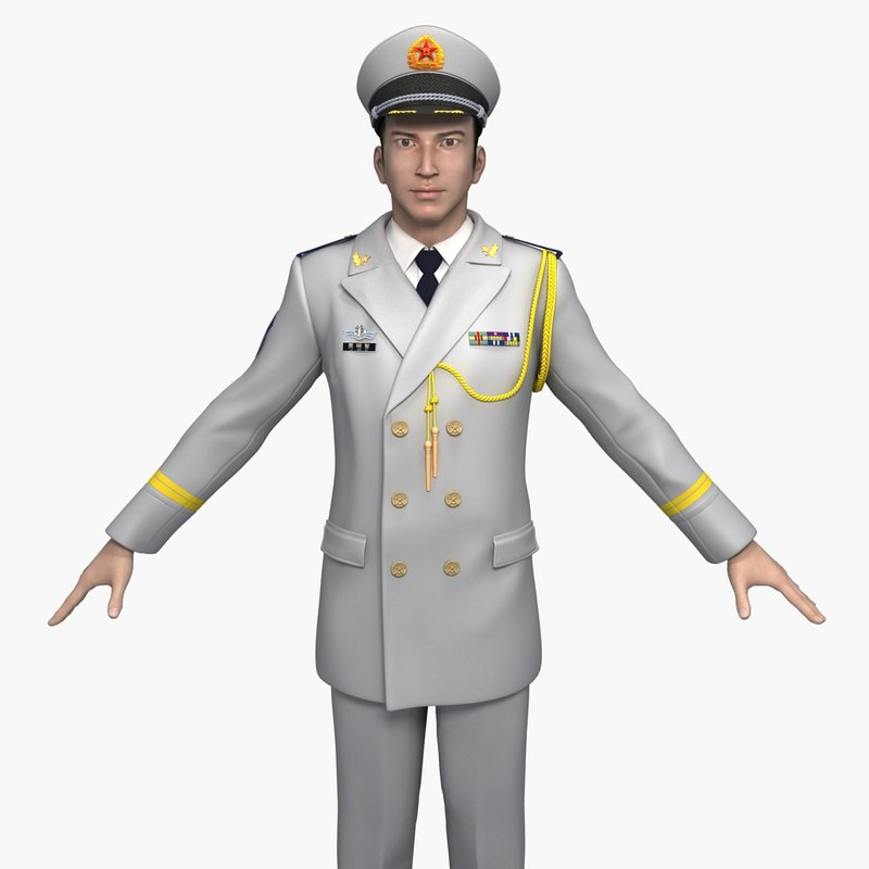 3D china navy officers spring model
