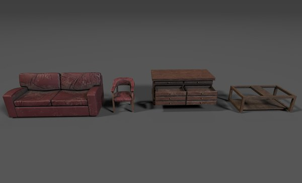 furniture pack 1 sofa chair 3D model