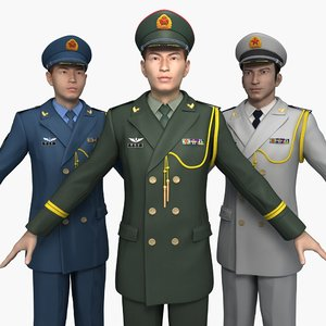 3D china officers spring autumn