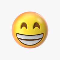 emoji 2 beaming face 3D model