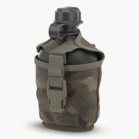 3D military bottle water canteen model