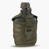 Outdoor Water Canteen Plastic Military 3D Model