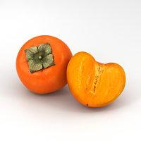 persimmon food fruit 3D