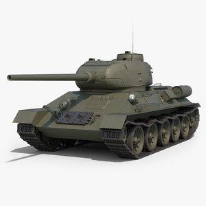 3D soviet tank t-34-85 clean