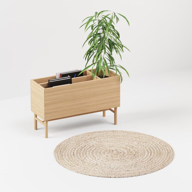 white oak table 3D model