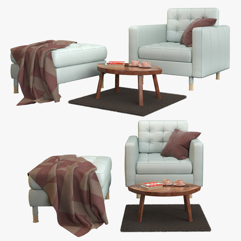 ikea landskrona armchair stool 3D model