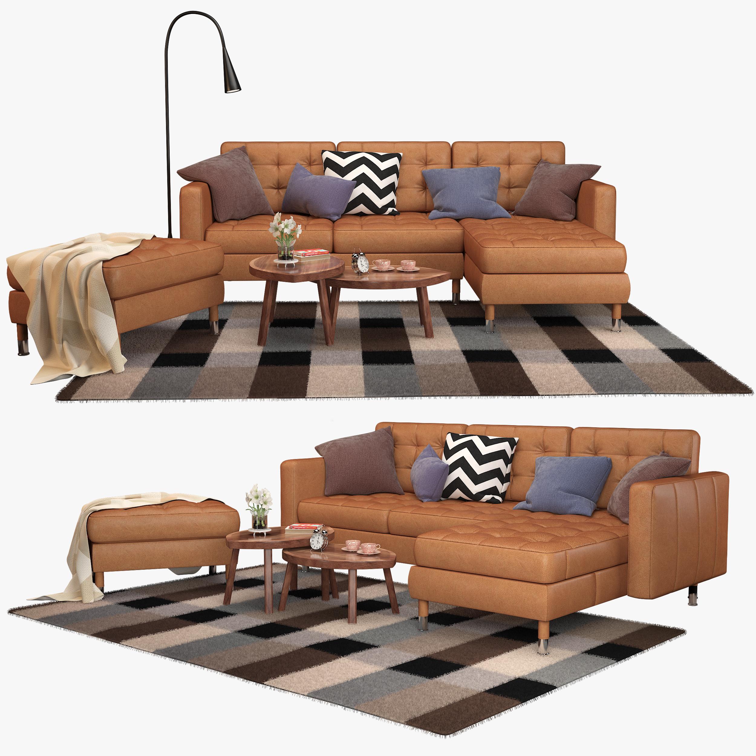 Ikea Landskrona Sofa With Delaktig Led Lamp And Stockholm Set Of Tables