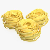 3D model dried raw pasta nest