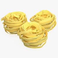3D model dried raw pasta nest