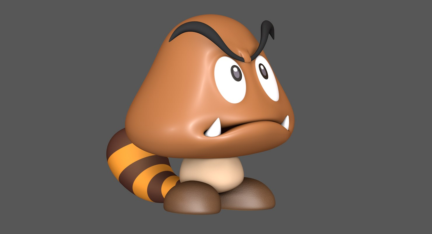 tail goomba super mario 3D model
