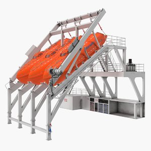 3D freefall lifeboats hydraulic launch