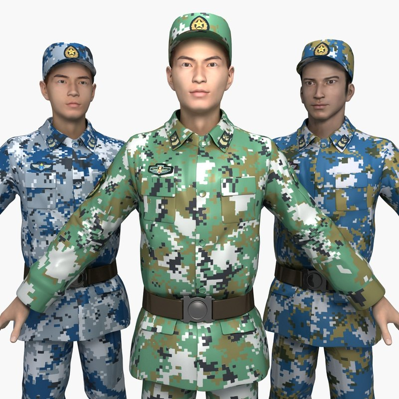 3D china soldiers training clothes