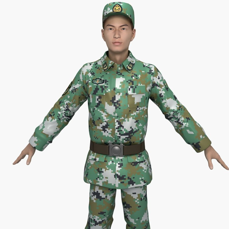 china army soldiers training 3D model
