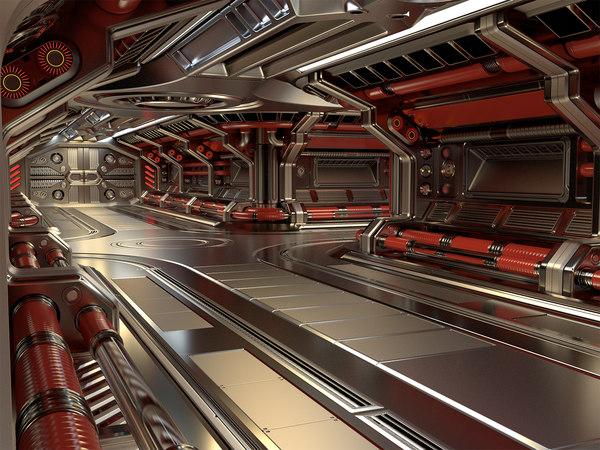 sci-fi modular corridor basic model