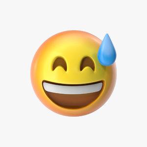3D emoji 7 grinning face model