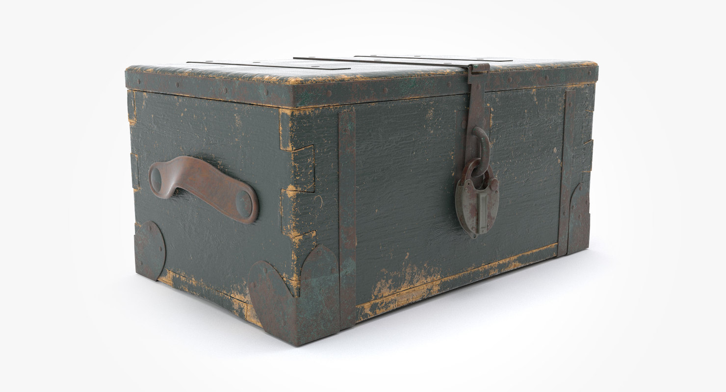 3D old wooden secure box