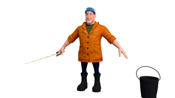 fisherman character 3D model