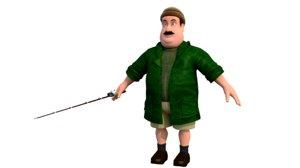3D fisherman character