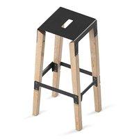 3D model stool wood iron