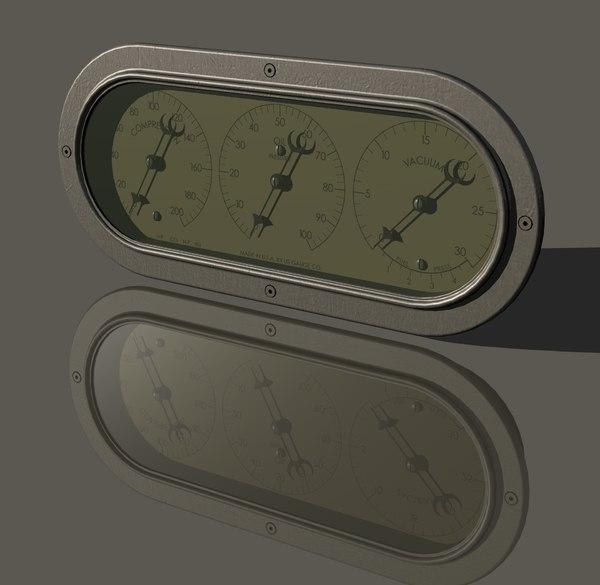3D vintage gauge cluster pressure model