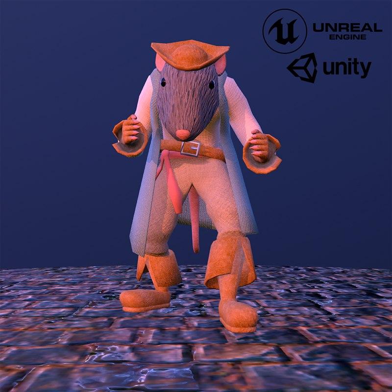 3D pirate capitan rat