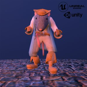 3D pirate capitan rat
