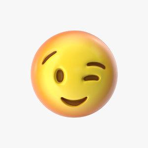 emoji 9 winking face 3D model