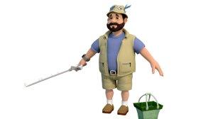 3D fisherman character model