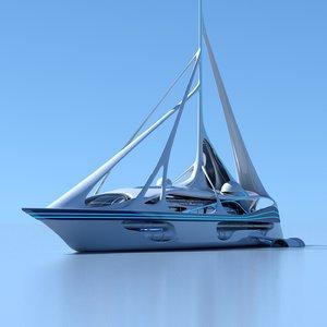 yacht futuristic 3D model